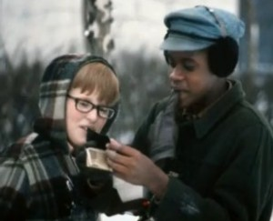 George and Steve examine a Polaroid photo